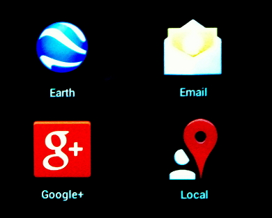 Icons on the screen of mobile communications device