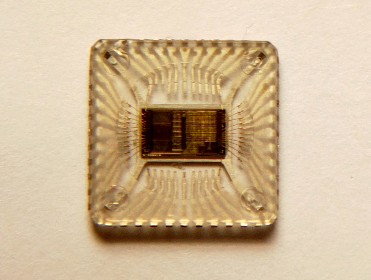 Close-up of microchip about 1cm square